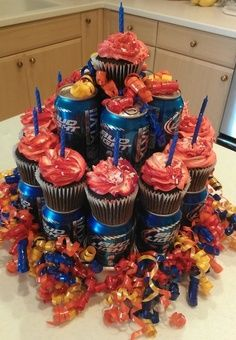 Budlight beer can cake