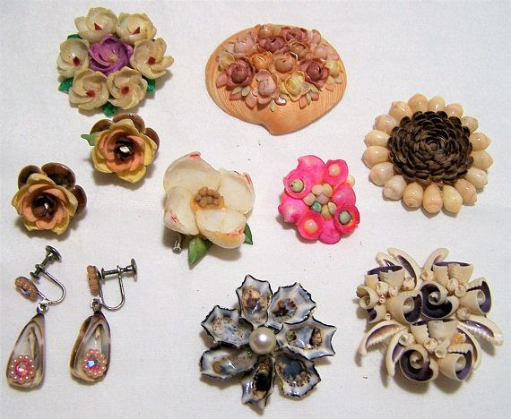 1120 best images about Vintage SEASHELL Jewelry on ...