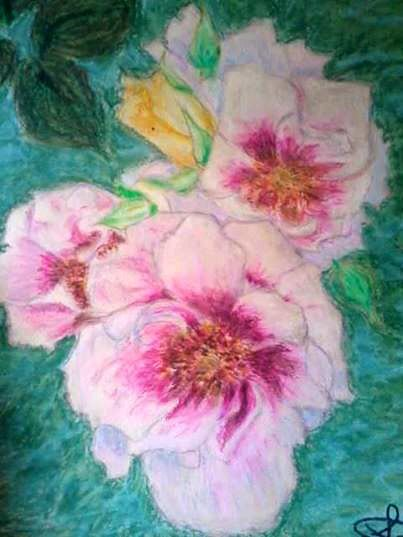 Bicolor roses, oil pastels on canvas