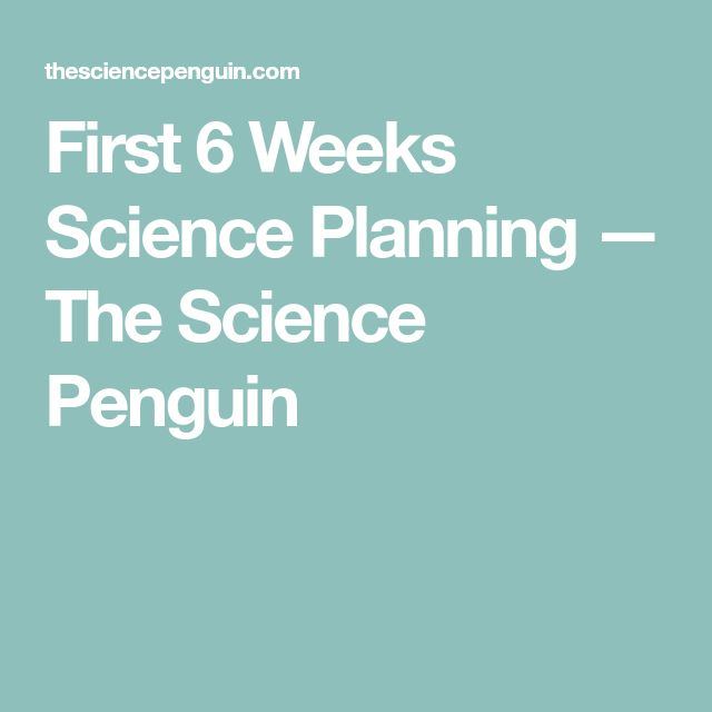 First 6 Weeks Science Planning — The Science Penguin