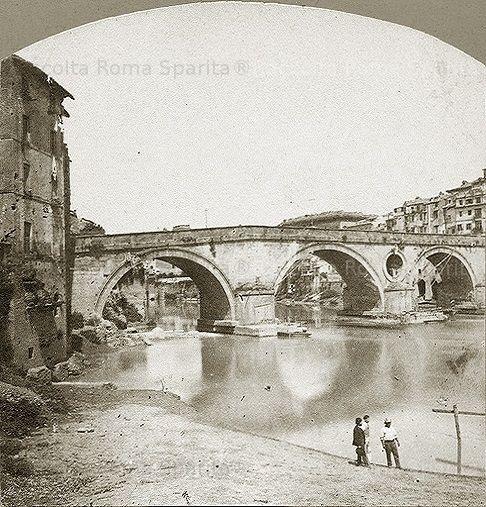 : Ponte Sisto prima della costruzione dei Muraglioni del Tevere Anno: Ante 1880