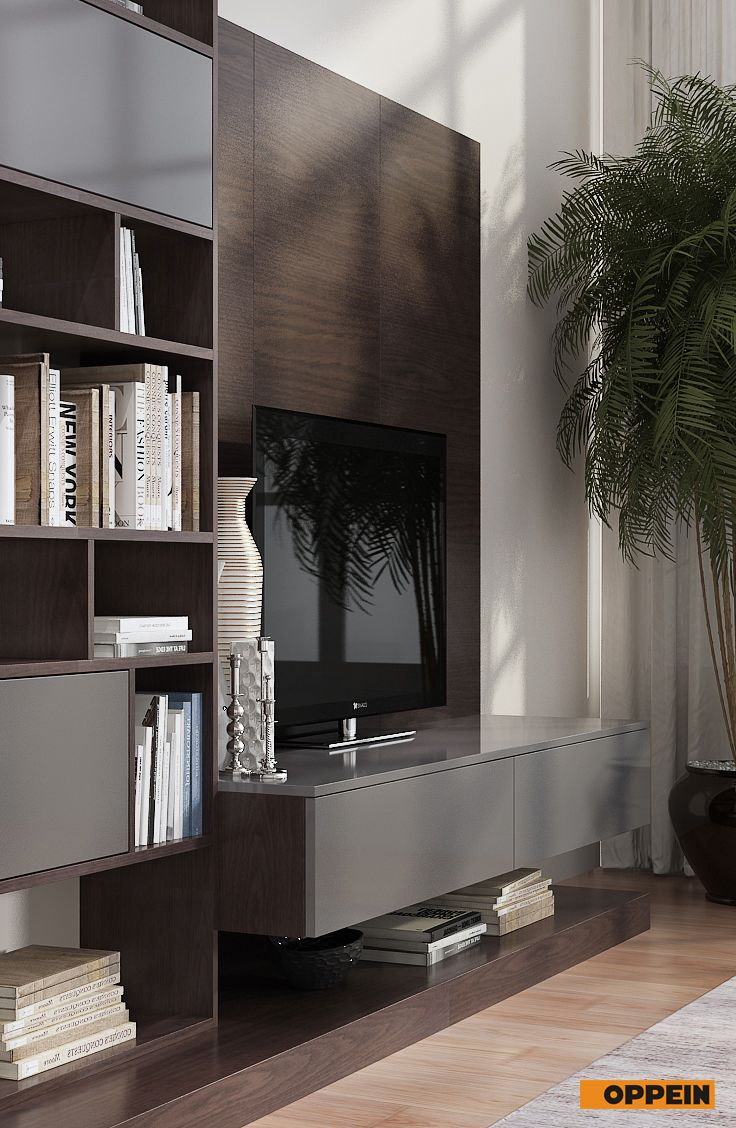 this design dark wood tv cabinet is made of melamine carcase and gray acrylic door