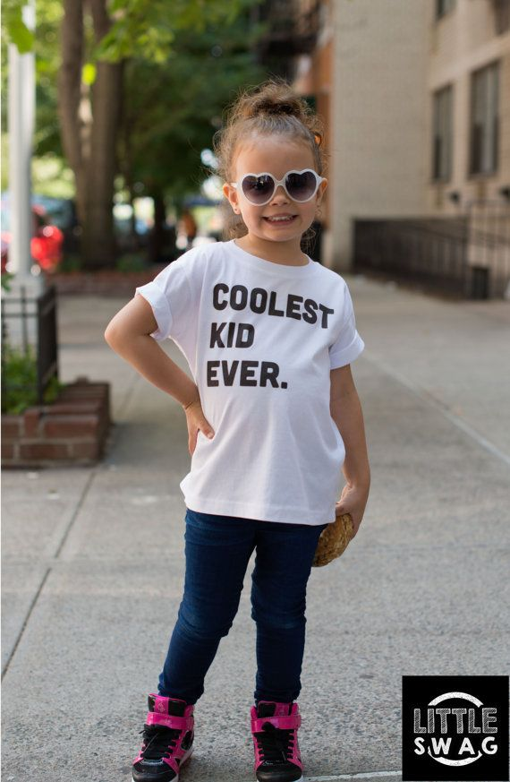 Coolest Kid Ever  kids tshirt white tee by LittleSwagApparel  kids tshirt, white tee, little kid swag, cool kids tee, black & white, toddler apparel, kids clothing, boys, girls