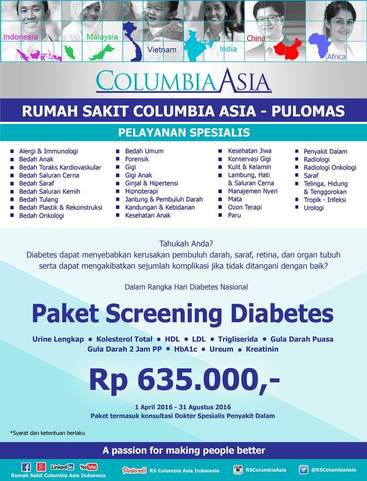 Rumah Sakit Columbia Asia Pulomas memberikan penawaran khusus untuk Paket MRI (Brain & Whole Spine) yang berlaku setiap hari Senin s.d Jumat.