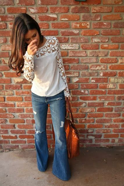 I would love to have a pair of wide legged distressed jeans.   These are super cute!