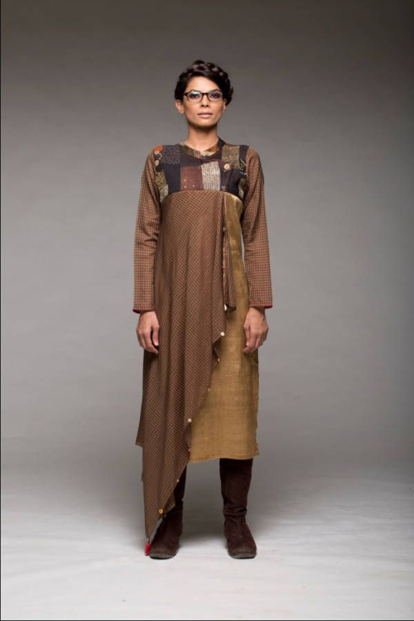 Draped yoke kurta with pants  |  Shop now: www.thesecretlabel.com