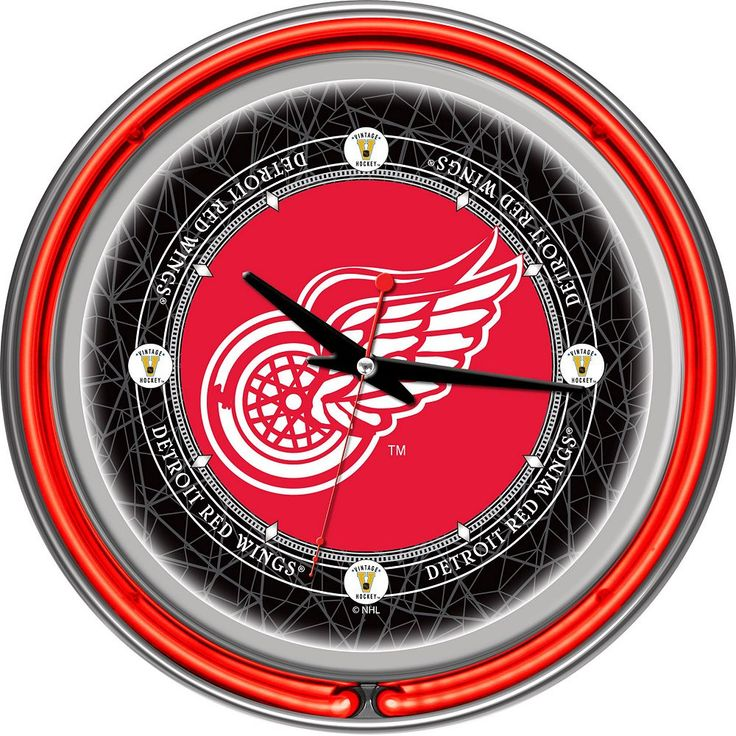 Detroit Red Wings Chrome Double-Ring Neon Wall Clock, Multicolor