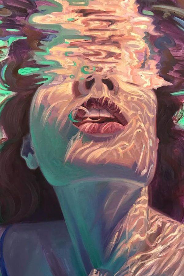 Isabel Emrich malt schillernde Darstellungen von Frauen, die unter Wasser tauchen. #art #ar … – #ar #art #Darstellungen