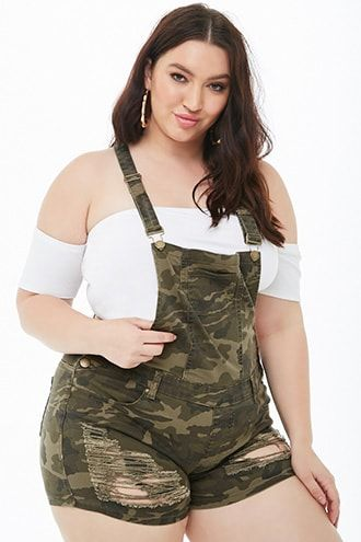c8f32c5d095 Plus Size Distressed Camo Denim Overall Shorts