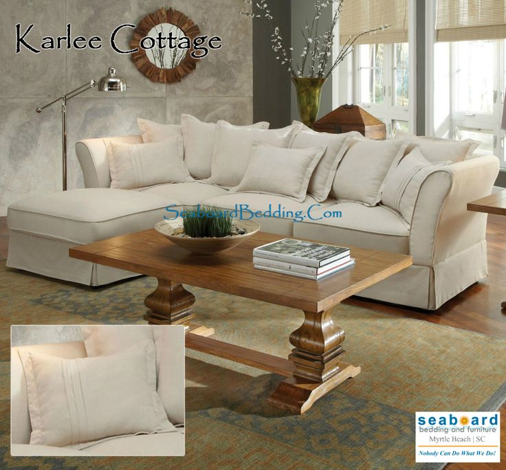 A three seat piece with soft cushions and a small chaise ottoman, this sectional sofa will complement homes that seek cozy comfort with a relaxed look. While toss pillows and a kick skirt add style to the design of the piece, removable cushions allow for easy cleaning. Pair this piece with casual cottage and country styled accents from its coordinating manufacturer.