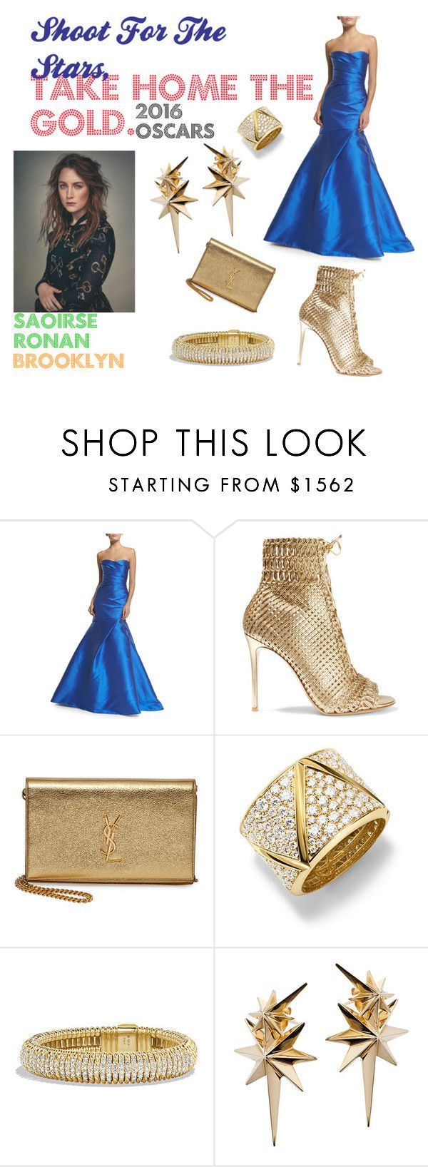 """Saoirse Ronan For The Oscars 2016"" by thecannibalking ❤ liked on Polyvore featuring Monique Lhuillier, Gianvito Rossi, Yves Saint Laurent, Marina B, David Yurman, Ludevine, SaoirseRonan, spring2016 and oscarsfasion"