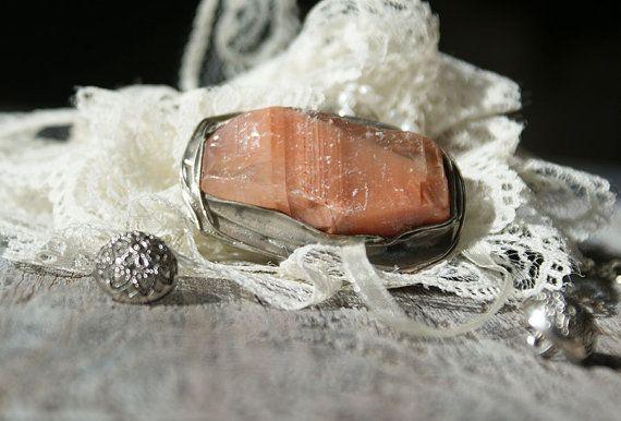 stone CALCITE PINK   brooch retro unique handmade by studioARTEA