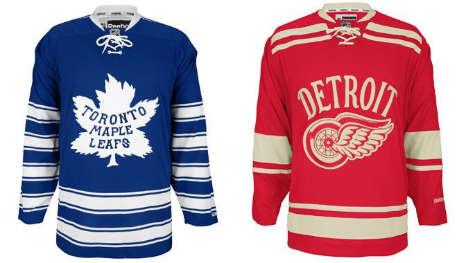The jerseys the Maple Leafs and Red Wings will wear at the 2014 Bridgestone NHL Winter Classic.  HINT: christmas or bday.(the red one duh)