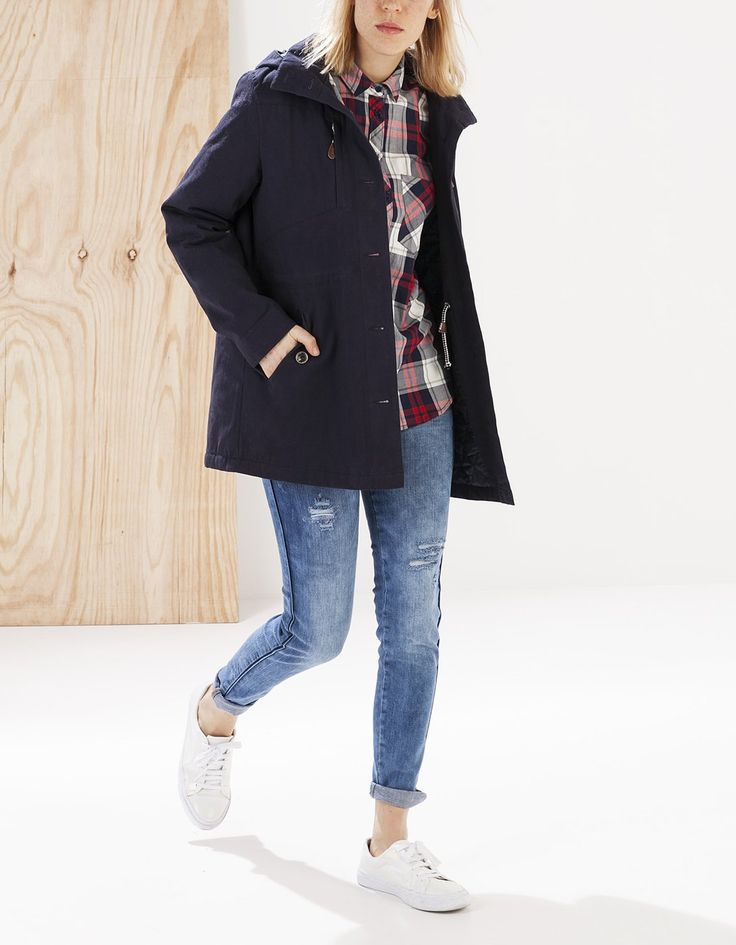 Stradivarius Quilted parka with hood Navy 700