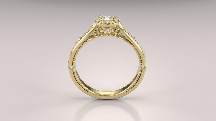 Anel de Noivado Uni Princess II, opção em ouro amarelo, 18k, contendo 31 diamantes. Largura:3.05mm Espessura:1.85mm Coroa:6.40mm