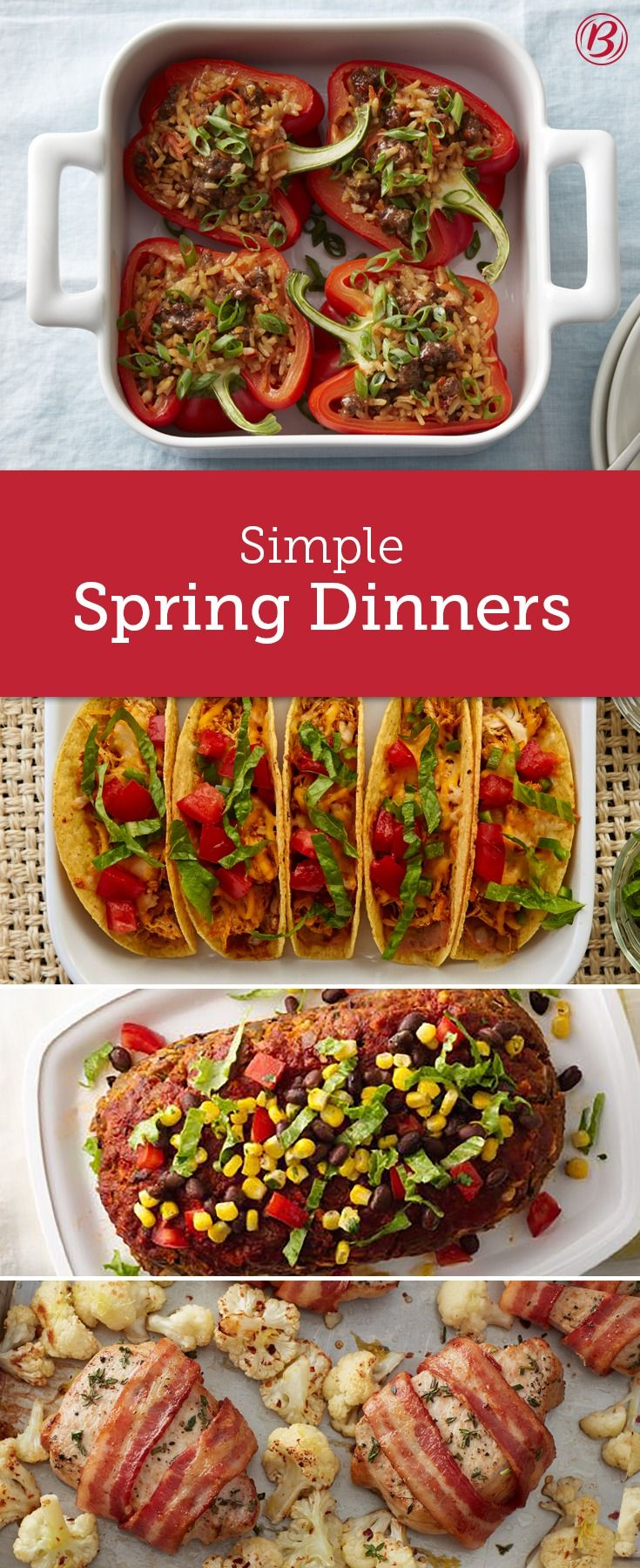 Spring is here—time to freshen up your dinner menu! These 12 dinners are perfect for when you're craving something a little bit lighter but don't want to skimp on taste. Chicken tacos, sheet-pan salmon and zesty meatloaf are just a few of these springtime suppers you need to try!