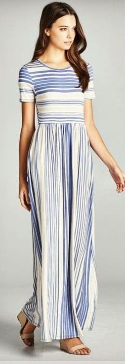 ~~~Try stitch fix today! The latest fashions picked by your own personal stylist delivered right to your door. Blue white striped summer maxi. Stitch fix spring & summer 2017 #affliatelink