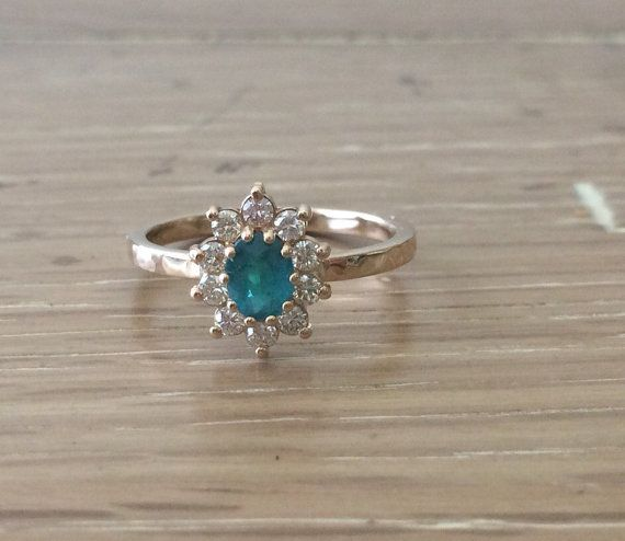 Tourmaline Ring  Diamond Cluster Ring  Gemstone by bskdesigns