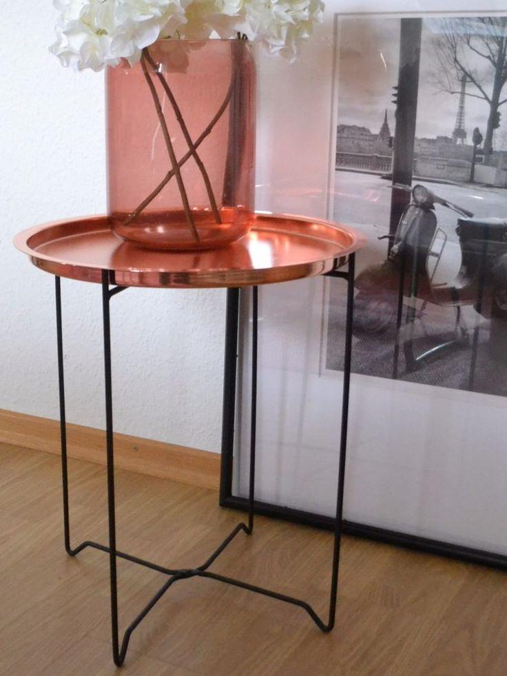 Moderner Kupfer Look Couchtisch Nachttisch Tablett Tisch Metall klappbar