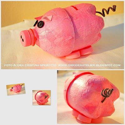 Pig from a pop bottle-website is in another language but I think maybe I can figure this out...