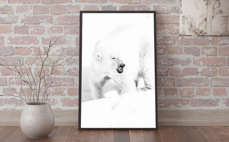Digital poster print polar ice bear, black and white home decor wall art minimalism, animal photography picture photo image instant download