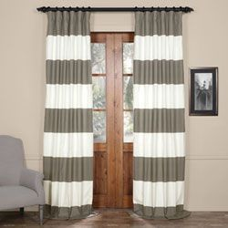 Slate Gray and Off White 50 x 96-Inch Horizontal Stripe Curtain