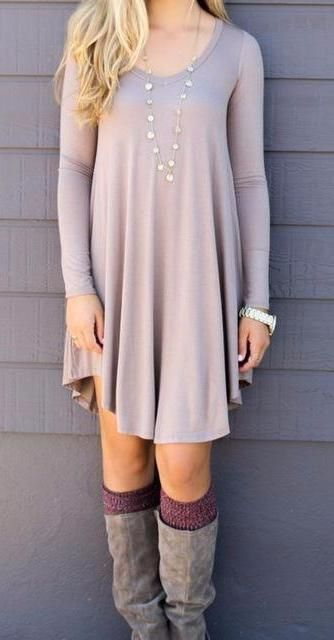 Fall Casual Long Sleeve Tunic Dress #cuteteenoutfits