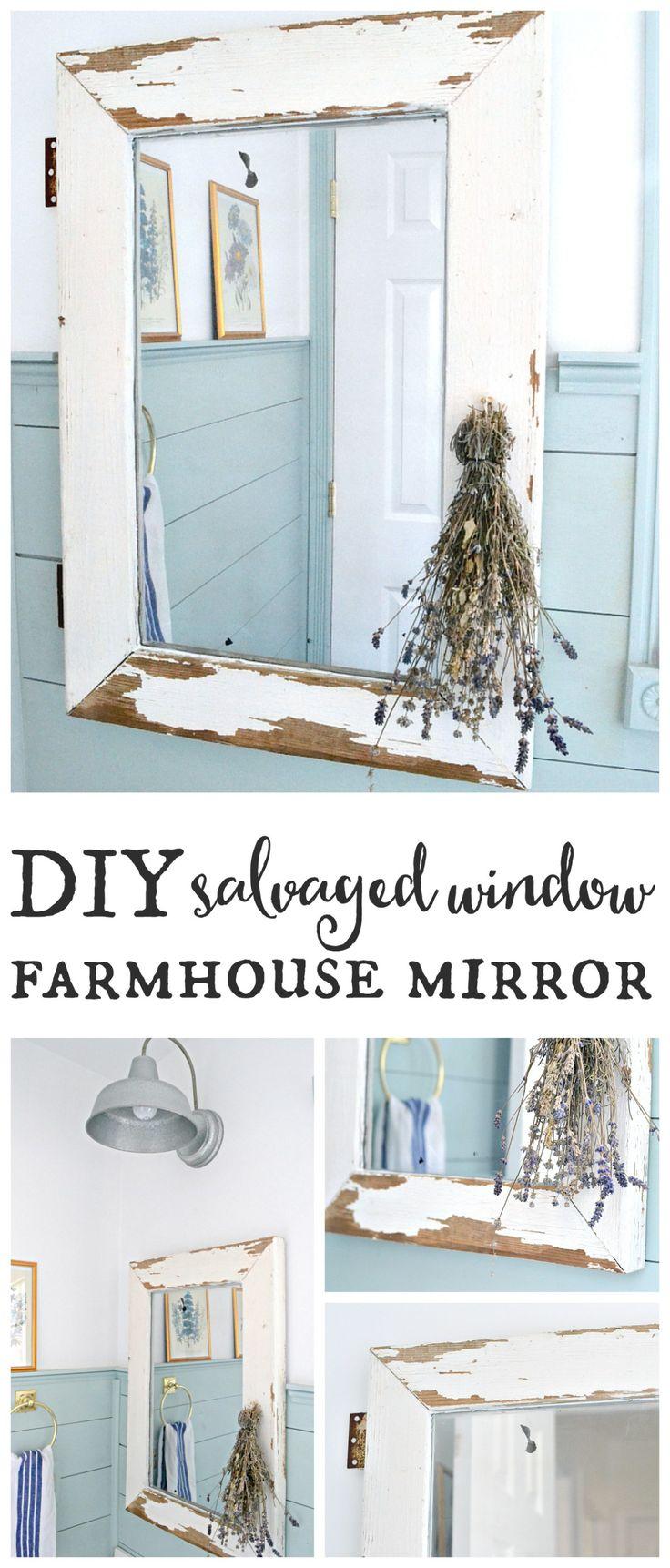 Salvaged window farmhouse mirror. Turn a salvaged window into a farmhouse mirror in just a few easy steps! Find it on theweatheredfox.com