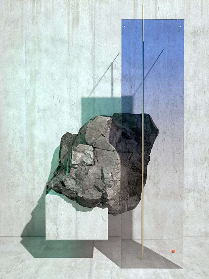 "Swedish art director Anders Brasch-Willumsen's digitally-rendered ""Rocks and Light"" series references materials used in the Japanese art movement Mono-ha."