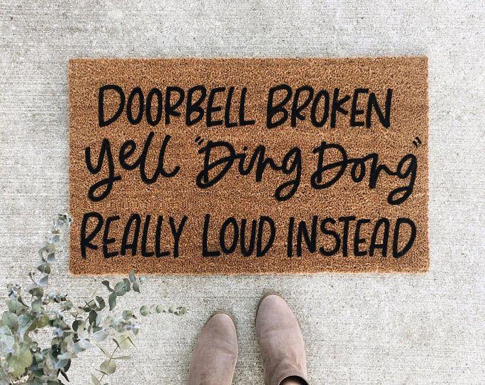 Doorbell Broken Welcome Mat Hand Painted Custom Doormat Etsy In 2020 Door Mat Custom Doormat Doorbell Broken