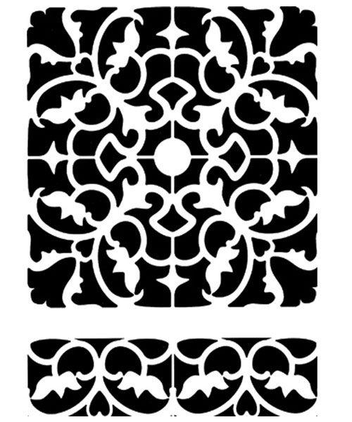 Sjabloon+Tegels+barok  Formaat+sjabloon:+A4  Materiaal+sjabloon:+kunststof,+afwasbaar+en+vaker+te+gebruiken.  Met+het+sjabloon+Tegels+Barok+kun+je+prachtige+extra+effecten+bereiken+op+vloeren+of+muren....