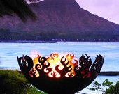 perfect fire bowl in the perfect settingFire Pits, Fire Steel, Outdoor Fire Pit, Gardens, Steel Firepit, Outdoor Fireplaces, Rings Of Fire, Backyards, Bowls
