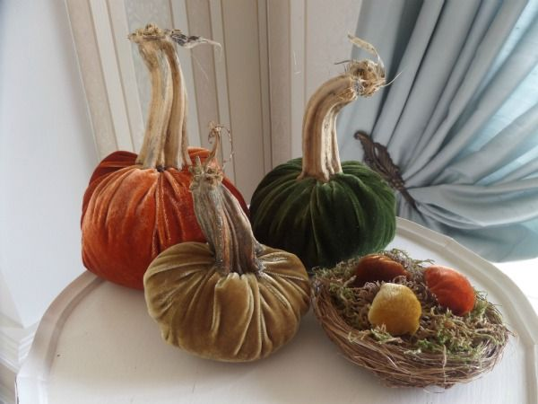 """Silk Velvet Pumpkins Set of 3 with Velvet Acorns in a Nest Real Stems 6"""" Orange 5"""" Green 4"""" Gold - Beautiful Thanksgiving Centerpiece, perfect for Fall Wedding, Halloween Decor $49.99 from Noble Niches #Thanksgiving #thanksgivingcenterpiece #thanksgivingdecor #velvetpumpkin #velvetpumpkins #pumpkinstem #halloween #halloweendecor"""