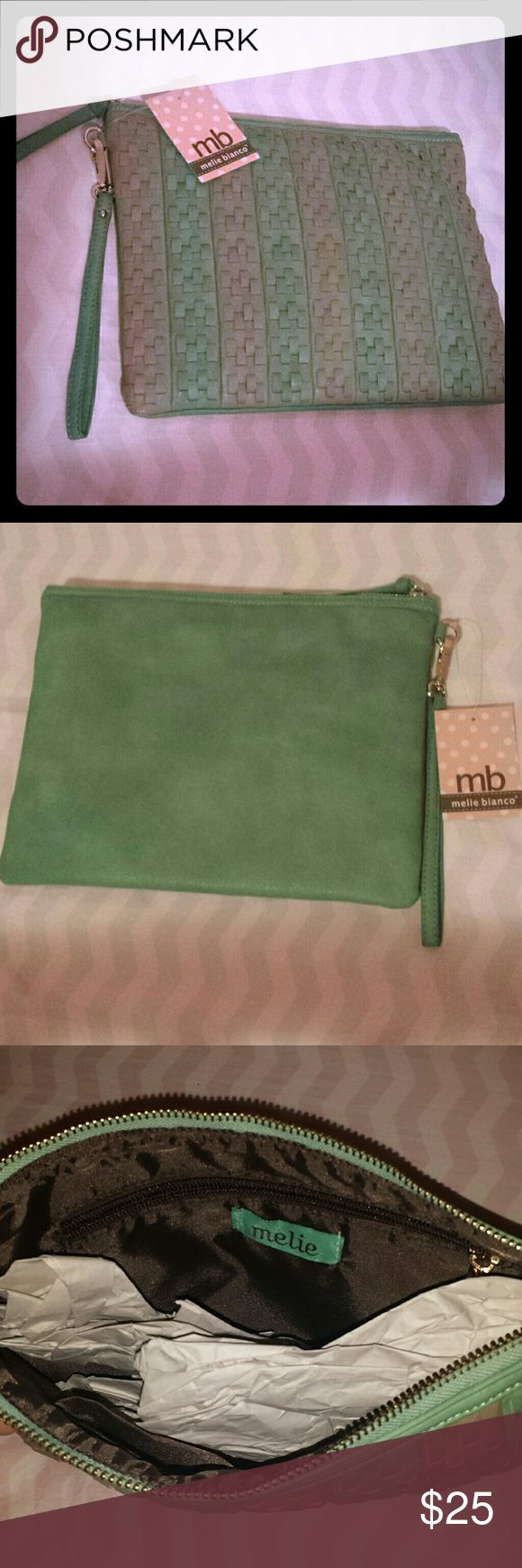 Melie Bianco Clutch Gray and mint green fashionable Melie Bianco clutch. Has 3 pockets inside and is very roomy. Brand new. Melie Bianco Bags Clutches & Wristlets