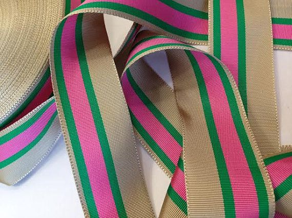 Polyester RIBBON  1 1/2 Inch  Taupe Green & Pink by TheNeedleShop