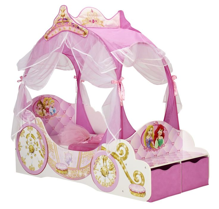 Disney Princess Toddler Carriage Bed with Storage: Amazon ...