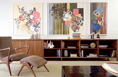 Mash-up your style! A fun space is created with the juxtaposition of mid-century modern furniture paired and modern art. | We love these paintings! Find more Mad Men inspired works at Saatchi Art: http://www.saatchiart.com/art-collection/Painting-Collage-Photography/Inspired-by-Mad-Men/685448/102987/view