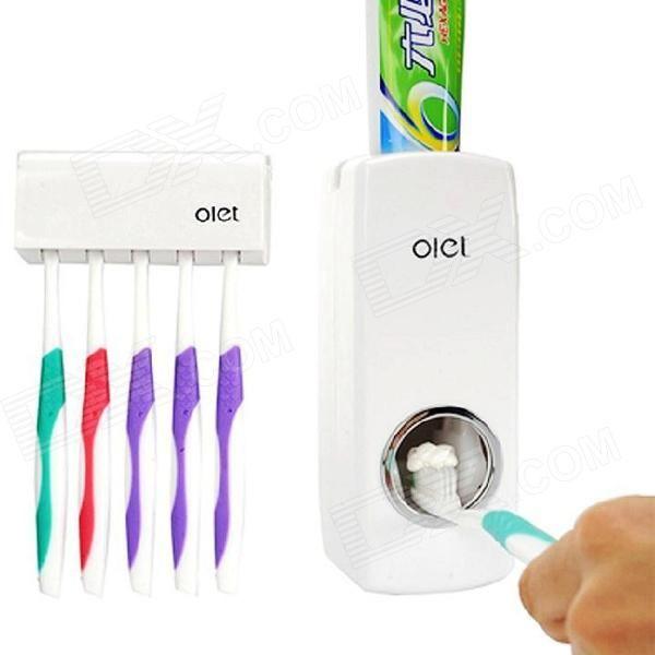 Olet HQS-Y34659 Automatický dávkovač zubní pasta w / Držák na kartáčky - bílý