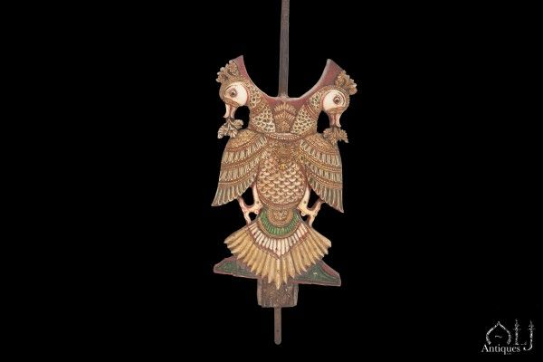 An Extremely Important and Rare Ceremonial Polychromed and Lacquered Carved Ivory and Wood Double-Headed Eagle (Gandaberunda), Mysore, India 16th-17th Century