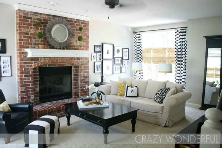 Greige Paint Whites Blacks And Real Brick Fireplace