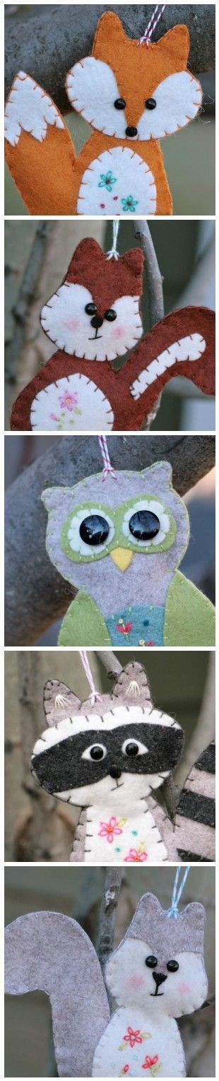 Felt ornament inspiration - link to Squirrel tutorial is at http://yougogirl.typepad.com/you_go_girl/2011/11/felt-squirrel-tutorialfinally.html