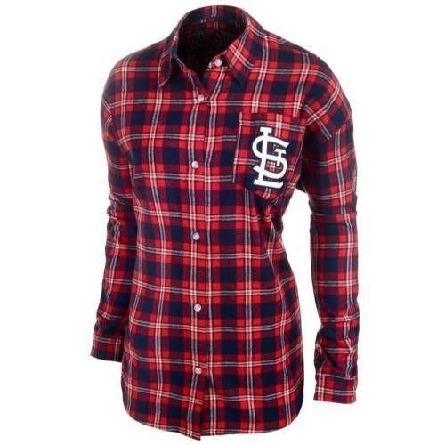 #StLouis Cardinals #Women Wordmark #LongSleeve Flannel #Shirt by Klew
