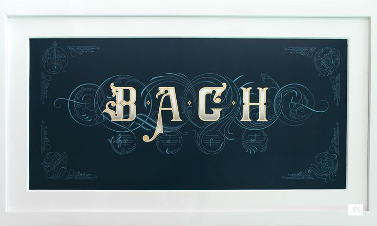 Towards the end of his life, Bach composed a fugue theme based on his family name. The notes are B, A, C and H (the German called B natural as H and B-flat as B). The four-letter name appears here to also stand as the representation of four-voice fugue. The swirling ornament interact and meshed into each other to describe the nature of fugue composition where the voices interact with each other. This design was inspired by that concept.