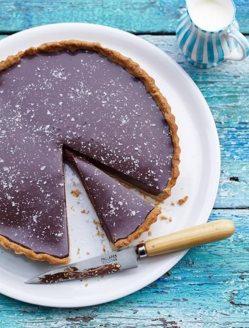 Rich chocolate tart with salt flakes A super simple chocolate pudding