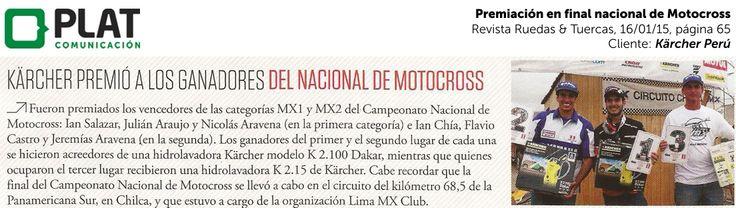 Kärcher: Premiación a campeones de Motocross en la revista Ruedas & Tuercas de Perú (16/01/15)