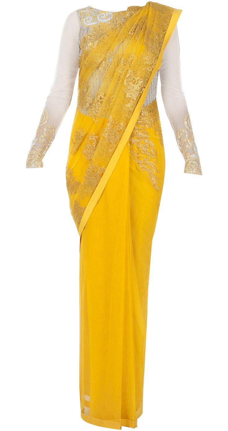 Yellow sari with chantilly palu by VARUN BAHL. http://www.perniaspopupshop.com/designers-1/varun-bahl