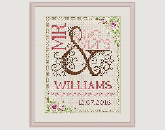 wedding cross stitch pattern gift for couple mr mrs cross stitch wedding