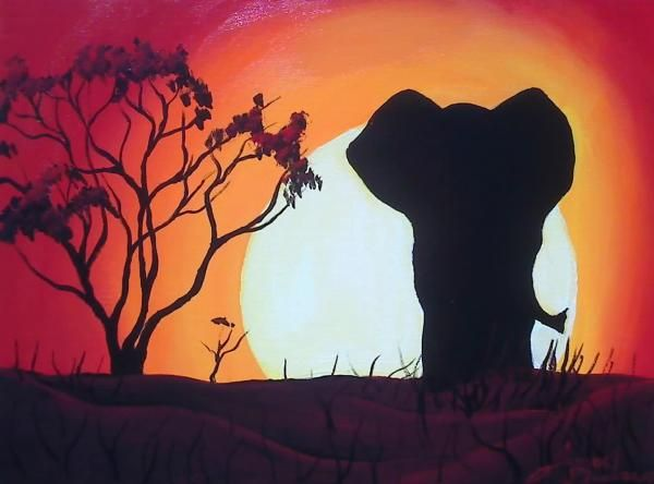 African Elephant Red Sunset Painting