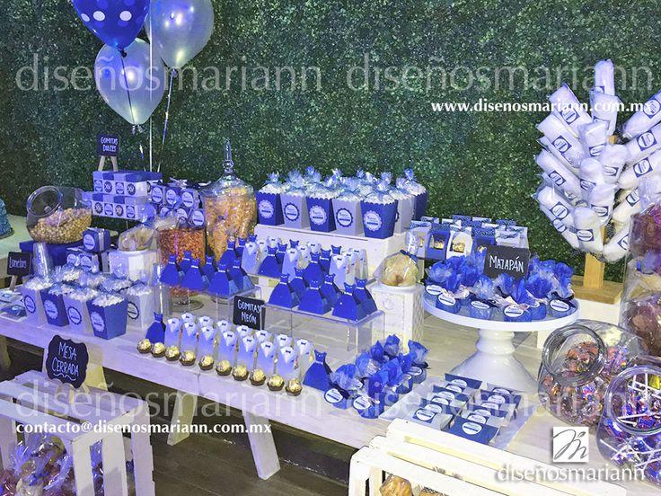 Mesa de dulces XV Años/Mesa de dulces azúl marino y plata/ XV Años