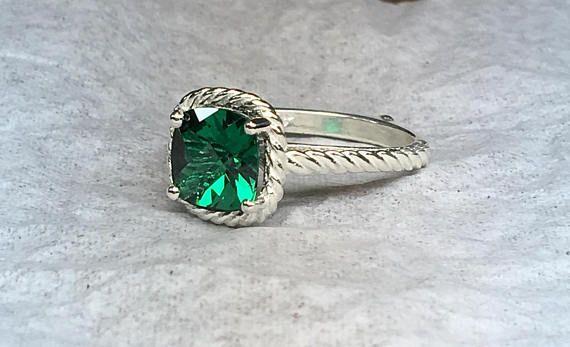 Esmeralda anillo de compromiso anillo de Esmeralda anillo